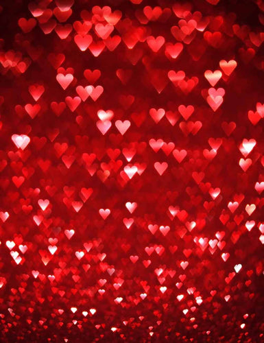 Red Hearts Sparkles For Wedding Photography Backdrop