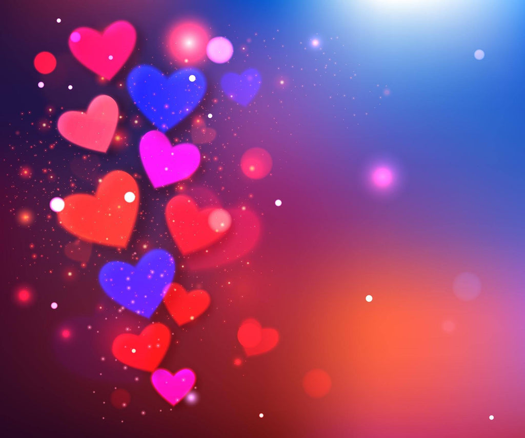 Red Pink And Blue Hearts Printed On Sparkle Background For Valentines Day Backdrop