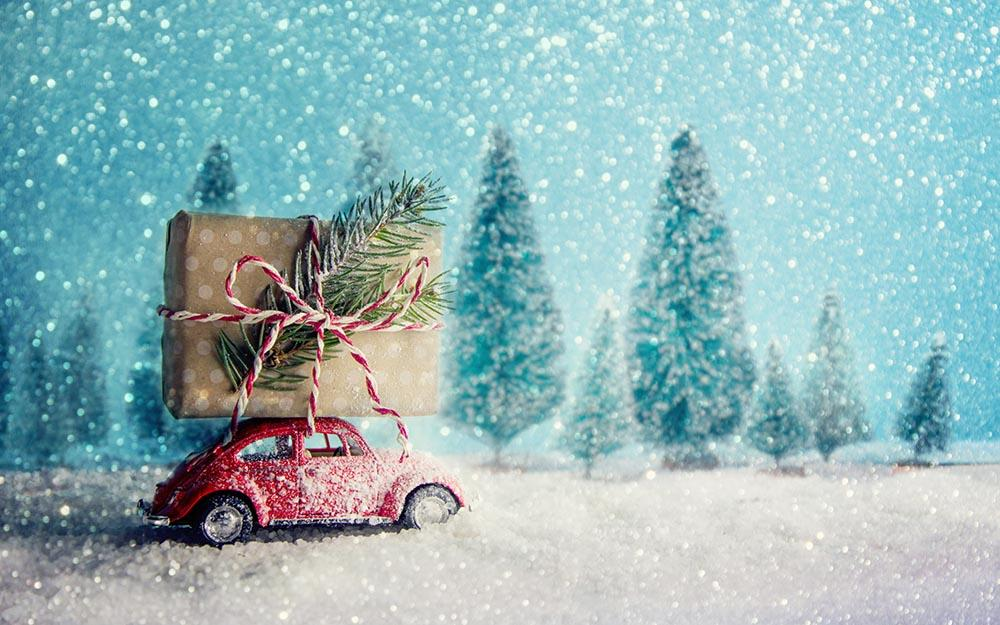 Red Retro Toy Car Delivering Christmas Photography Backdrop N-0052