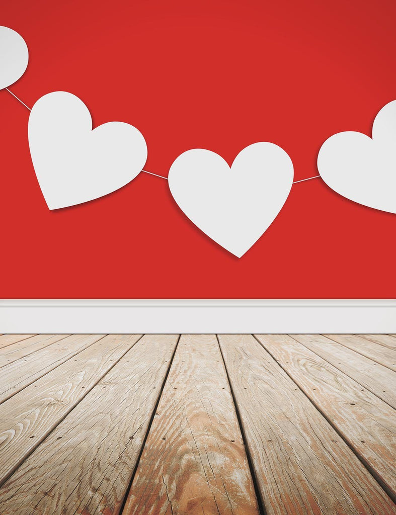 Red Wall Hanging Heart Flag With Wood Floor Photography Backdrop