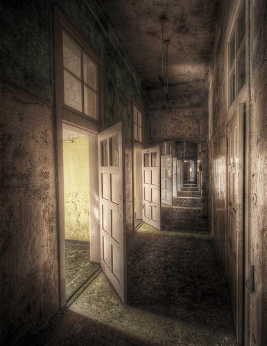 Retro Abandoned Dormitory Corridor Photography Backdrop  J-0314