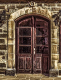 Retro Brawn Arch Wood Door With Window Stone Wall Photography Backdrop-Shop Backdrop