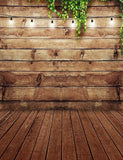 Retro Brown Wood Floor Mat With Wood Wall Some Lights Photography Backdrop lv-206
