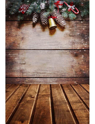Retro Brown Wooden Floor Mat With Christm Firetree For Holiday Photography Backdrop F-2896