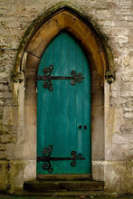 Retro Castle Dark Cyan Door With Wall Backdrops For Photography