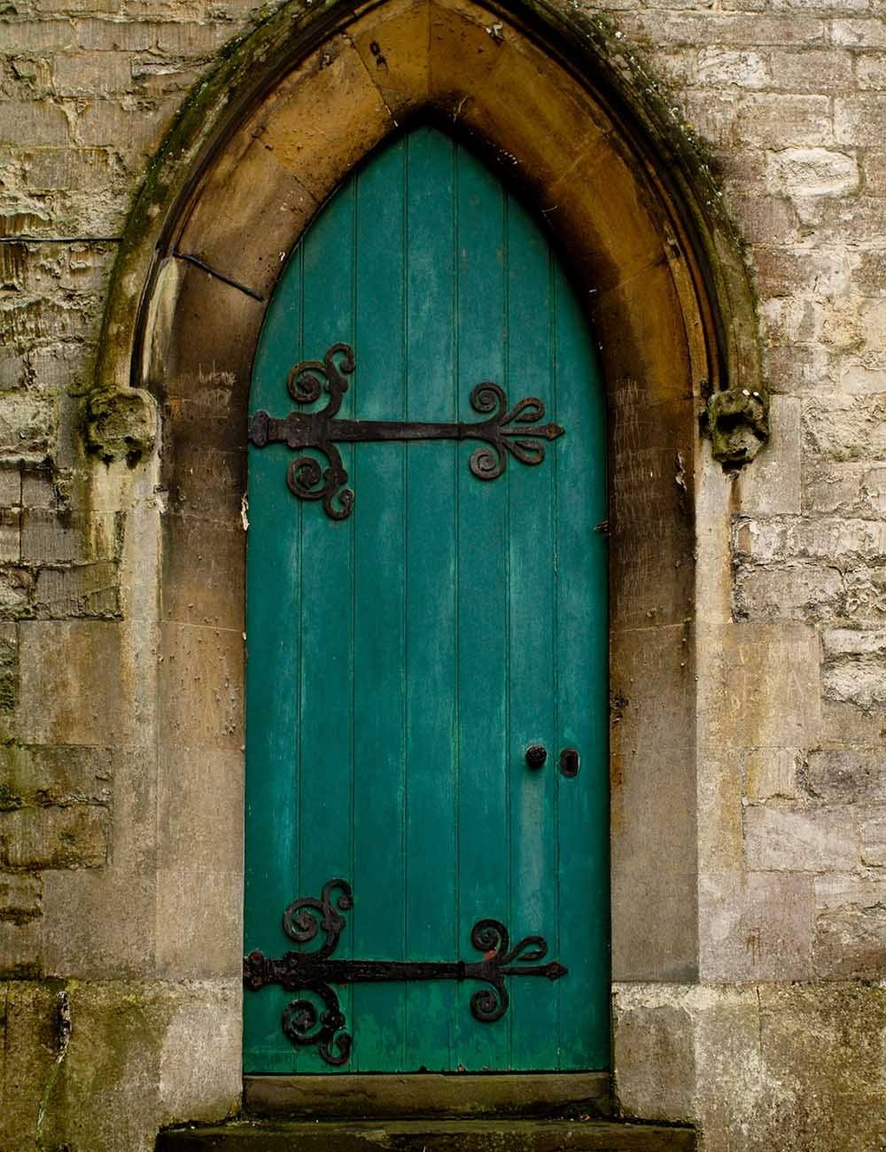 & Retro Castle Dark Cyan Door With Wall Backdrops For Photography ...