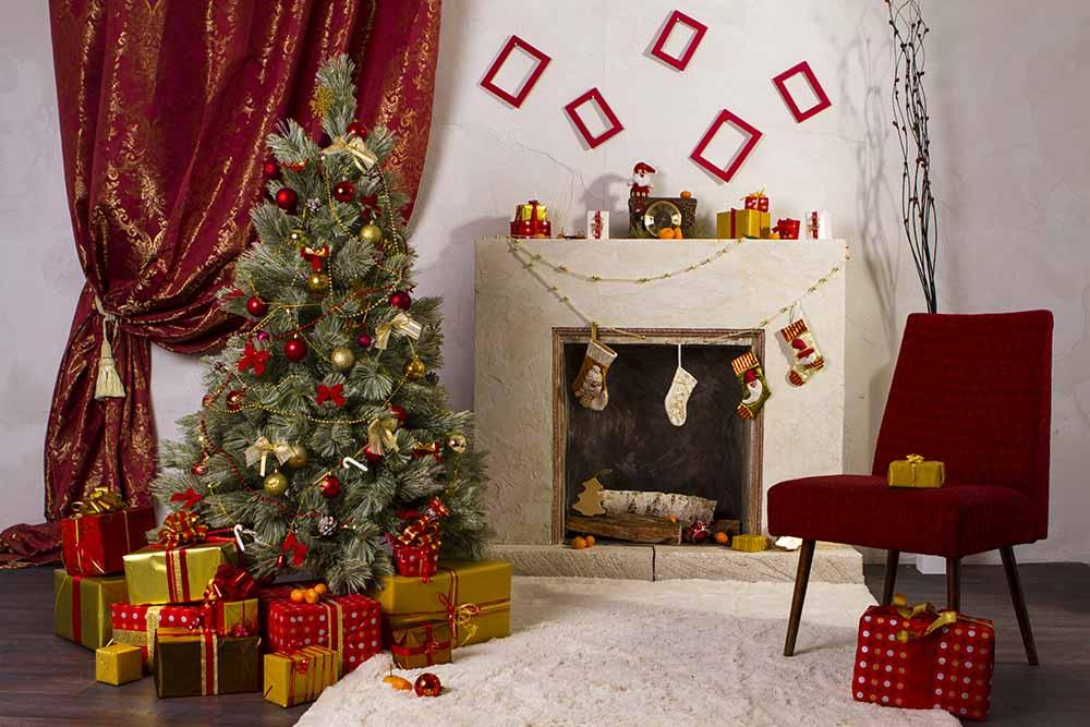 Retro Christmas Room With Fireplace Photography Backdrop J-0113