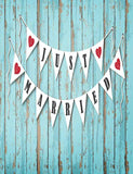 Retro Green Wood Floor Wall With Married Flags Photography Backdrop J-0073