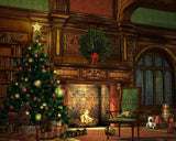 Retro Interior Design With Christmas Tree For Photography Backdrop J-0108
