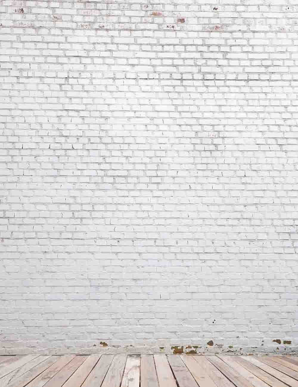 Retro Milk White Brick Wall With Wood Floor Photography Backdrop