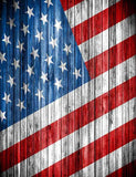 Retro Painted American Flag On Wood Floor For Holiday Photography Fabric Backdrop J-0005
