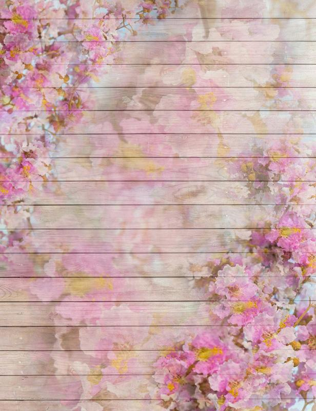 Retro Painted Flower Wood Floor Backdrop For Photography S-2620