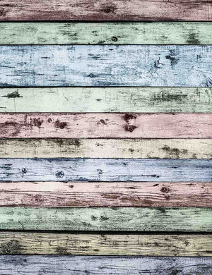 Retro Pink Blue Yellow Wood Floor Backdrop For Photography