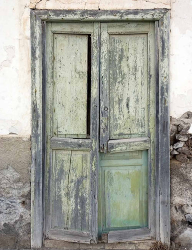 Retro Tattered Wood Door Grunge Wall Backdrop