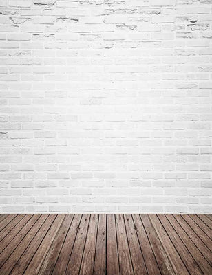 Retro White Brick Wall With Wood Floor Mat Texture Backdrop For Photography Q-0130