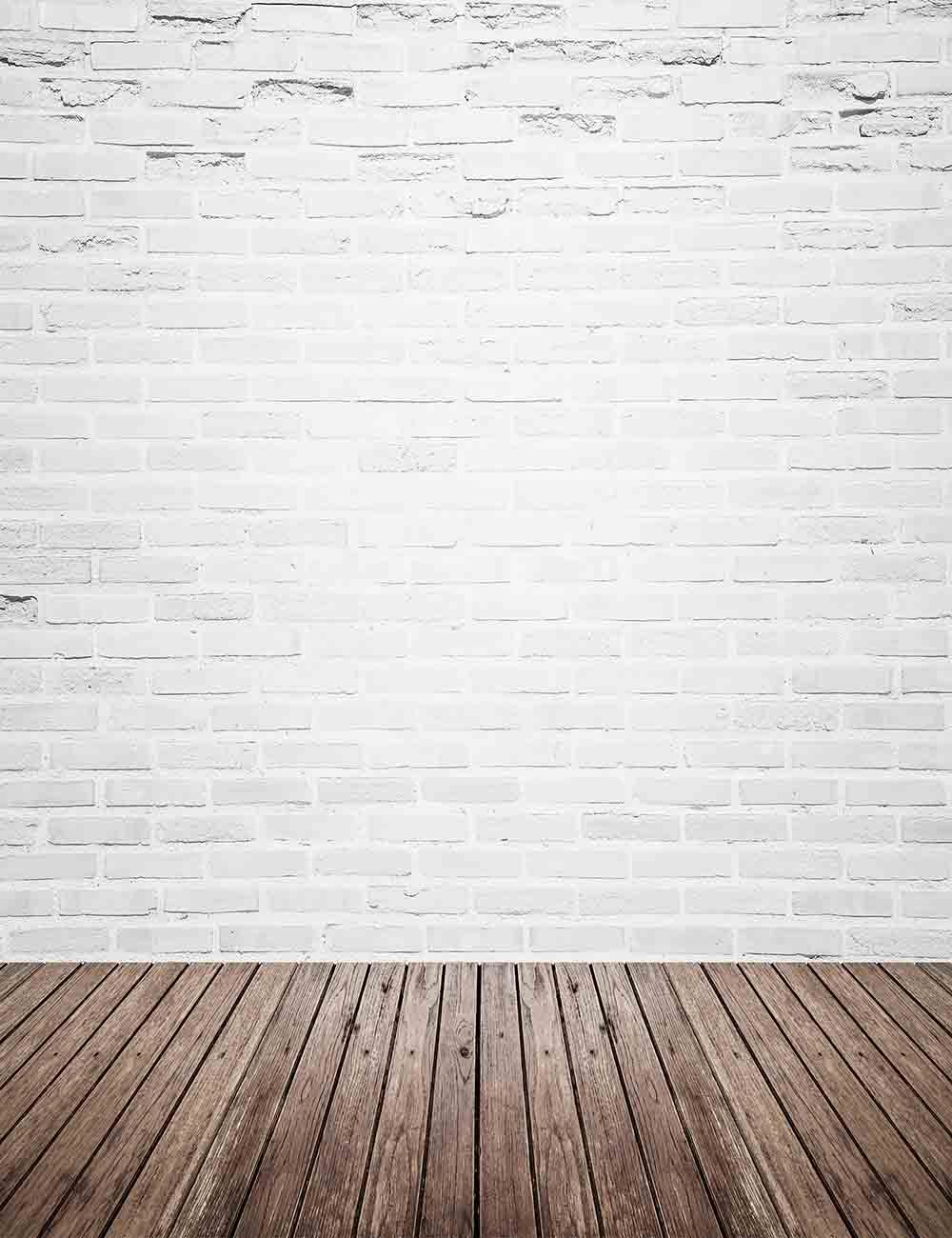 Retro White Brick Wall With Wood Floor Mat Texture