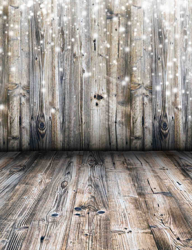 Retro Wood Wall With Snow Bokeh For Christmas Backdrop