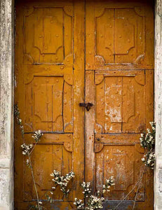 Retro Yellow Wood Door With Wild Flower Photography Backdrop