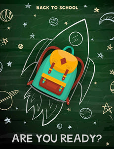 Rocket Made From Schoolbag Printed Dark Green Chalkboard For Kid Backdrop