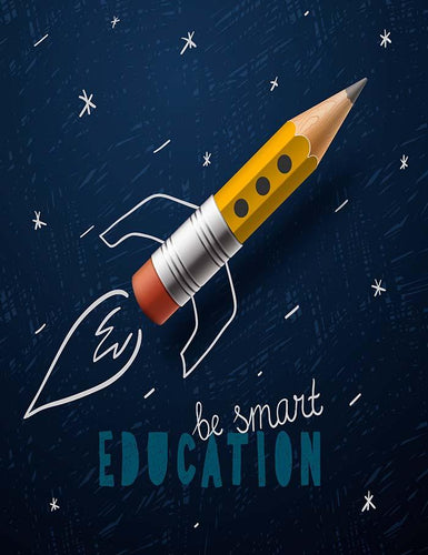 Rocket Ship Launch With Pencil - sketch On Blackboard Photography Backdrop J-0165