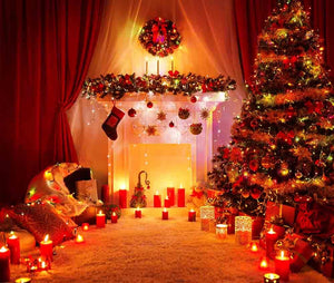 Room Christmas Tree Fireplace Lights With Lit Candle Photography Backdrop J-0067