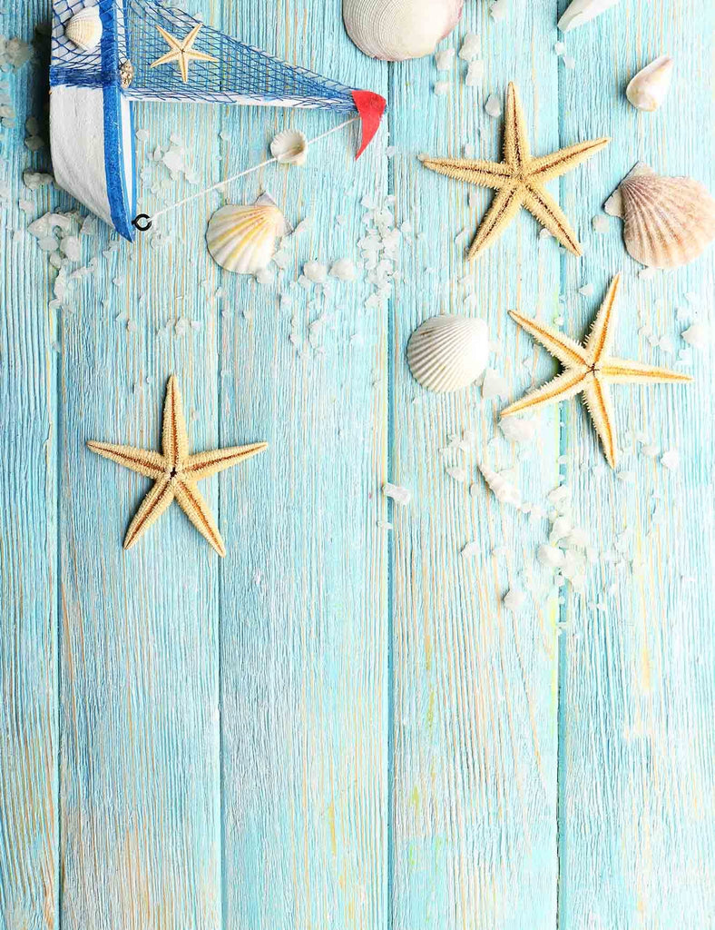 Sailboat And Shell On Baby Blue Wood Floor Backdrop