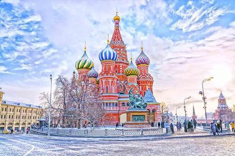 Saint Basil's Cathedral In Red Square In Winter  Sunset Photography Backdrop J-0225