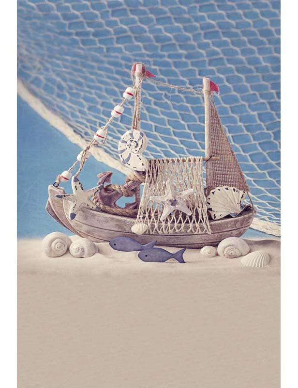 Sand Wood Boat Marine Life Backdrop For Baby Show Photography F-2659