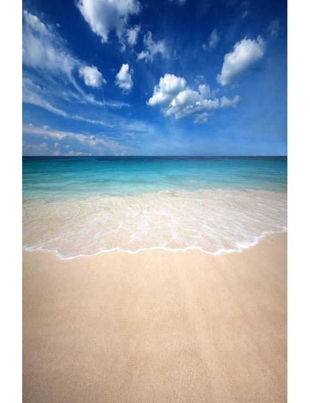 Sandy Beach Azure Sea With Blue Sky Backdrop For Summer Holiday F-2619