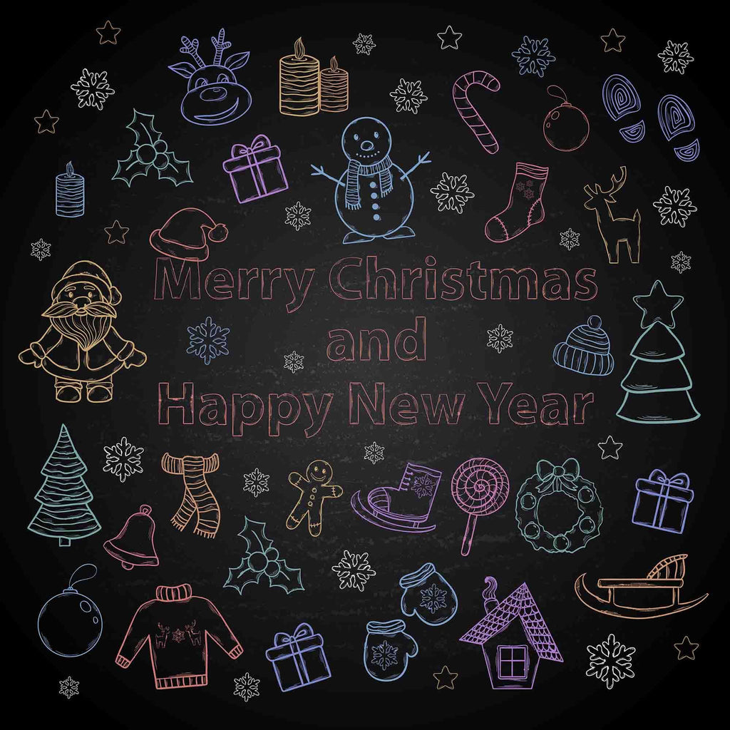 Santa Claus Christmas Tree And Gift Printed On Chalkboard Photography Backdrop