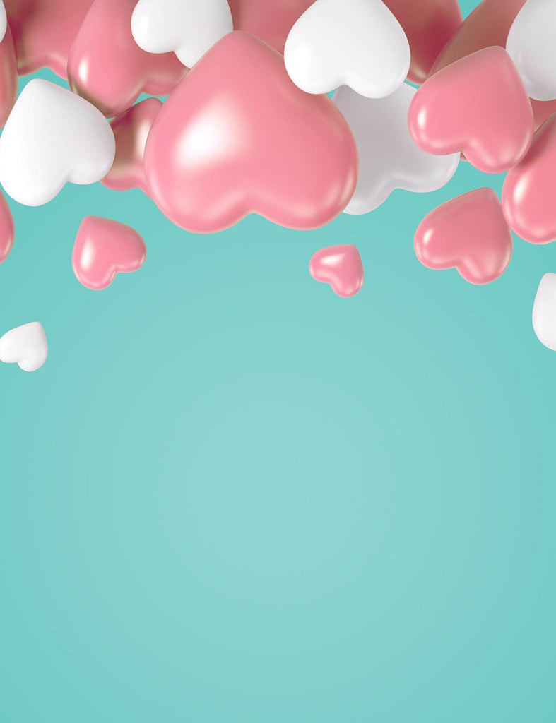 Sea Green Background With Red And White Balloons For Baby Birthday Backdrop