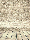 Senior Cream Color Brick Wall With Wood Floor Photography Backdrop - Shop Backdrop