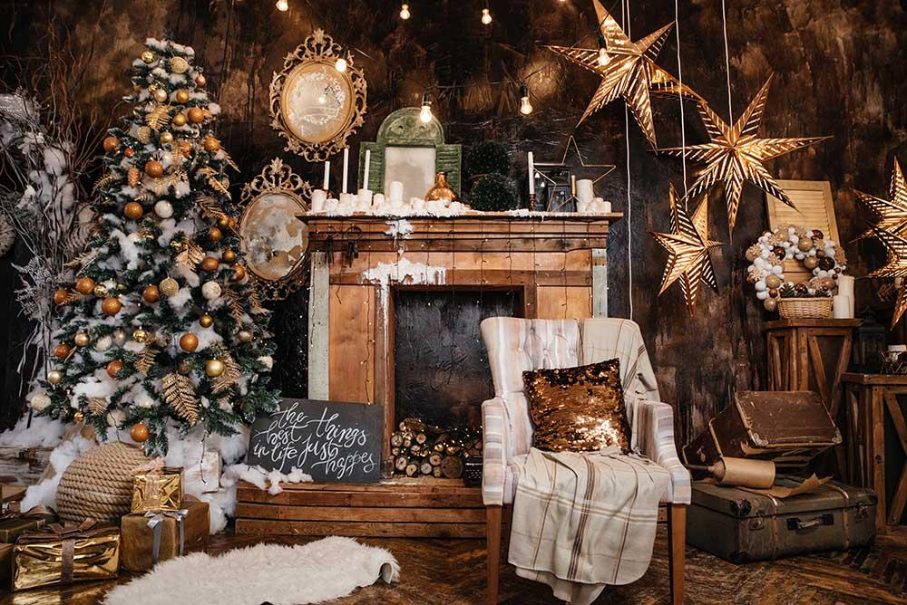 Senior Decorated Christmas Interior Room Photography Backdrop N-0042