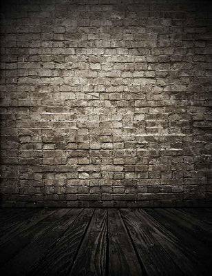 Senior Gray Brick Wall Lignt In Center With Old Wood Floor Photography Backdrop J-0044
