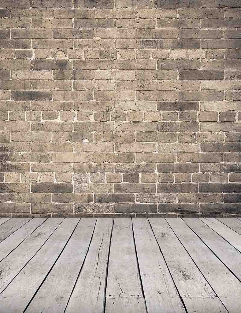Senior Gray Red Brick Wall With Old Wood Floor Photography Backdrop