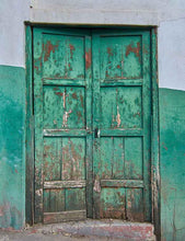 Senior Green Wood Door With Painted Wall Photography Backdrop J-0070