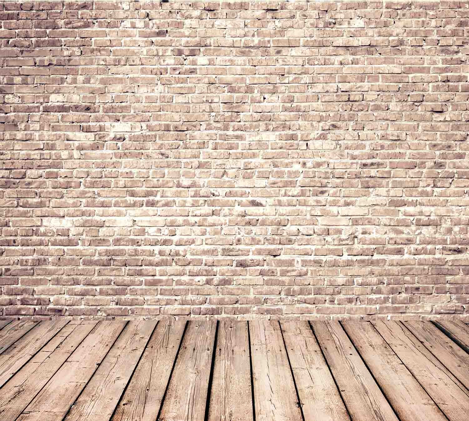 Senior Red Brick Wall Texture With Old Wood Floor Backdrop