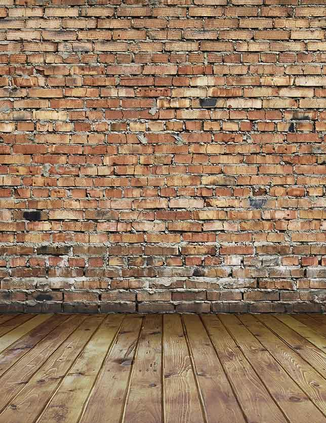 Senior Red Brick Wall Texture With Wood Floor Photo Backdrop