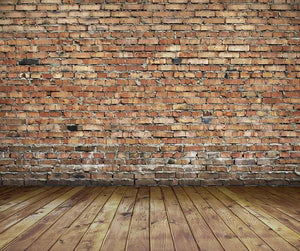 Senior Red Brick Wall Texture With Wood Floor Photo Backdrop - Shop Backdrop