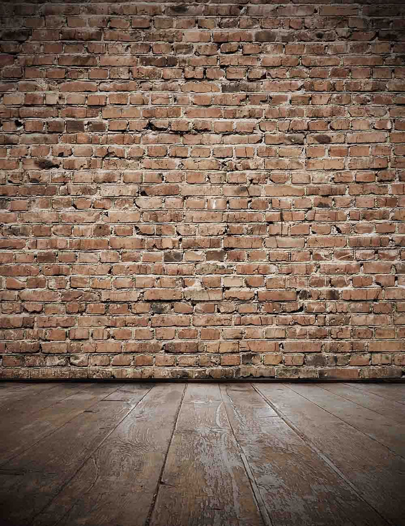 Senior Red Brick Wall With Old Brown Wood Floor Photo Backdrop