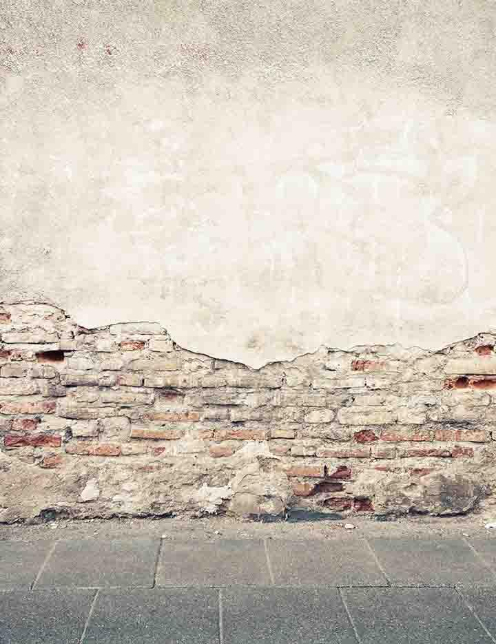 Senior Shedding Painted Brick Wall With Stone Floor Backdrop For Photo Studio