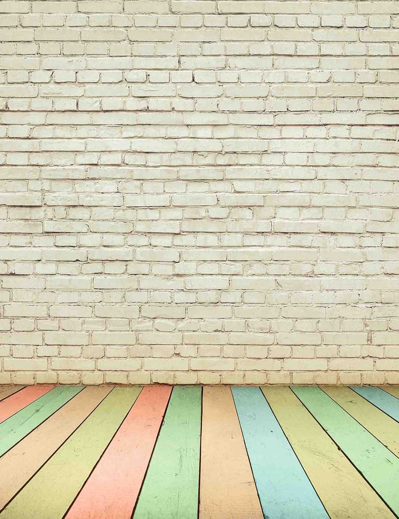 Senior White Brick Wall With Rain Color Wood Floor Backdrop For Baby Photography - Shop Backdrop