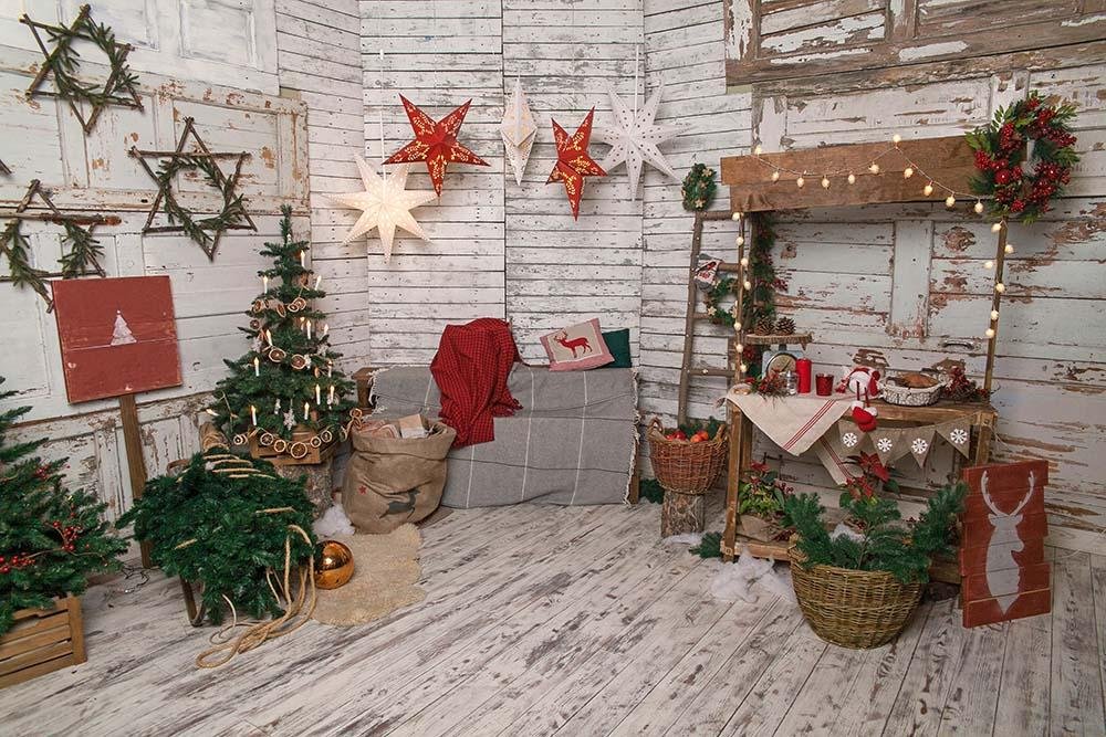 Senior White Room Decorated For Christmas Photography Backdrop N-0069