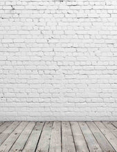 Senior White Stucco Brick Wall With Old Wood Floor Texture Photography Backdrop