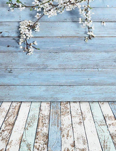 Senior Wood Floor Mat And Wood Wall With Cherry Blossoms Backdrop lv-207
