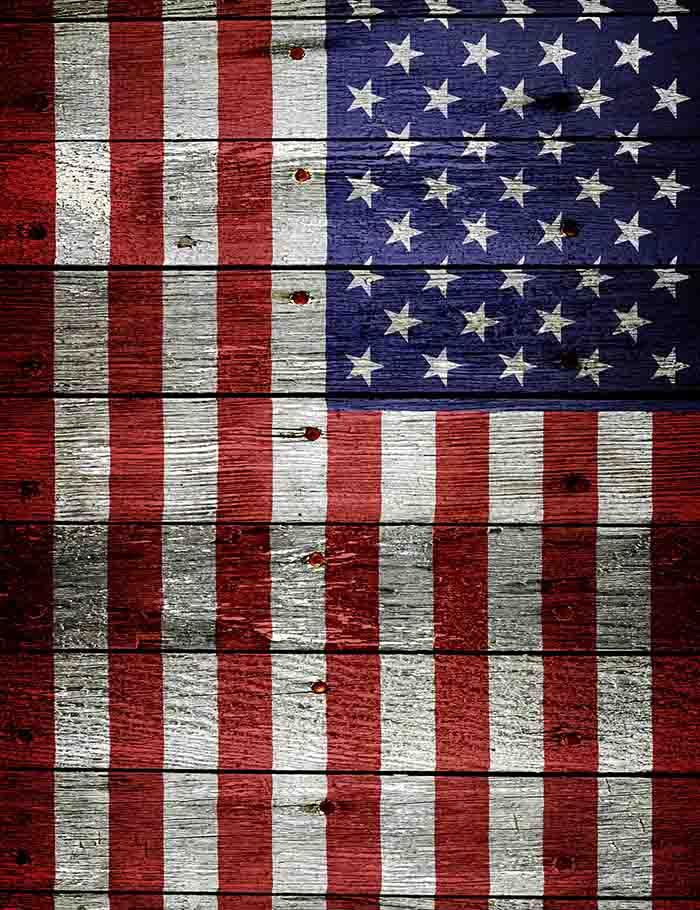 Senior Wood Floor Mat Painted American Flag For Independence Day Backdrop