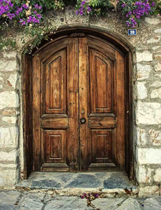 Senoir Brown Wood Door With Stone Wall Photography Backdrop