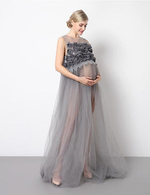 7732e44d0a806 Sheer Round Neck Lace Maternity Gray Dress Photo Prop