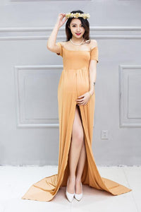 Sheer Short Sleeve Low Chest Maternity Long Dress Photo Prop