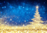 Shiny Christmas Tree - Golden Dust Glittering In The Blue Background Backdrop